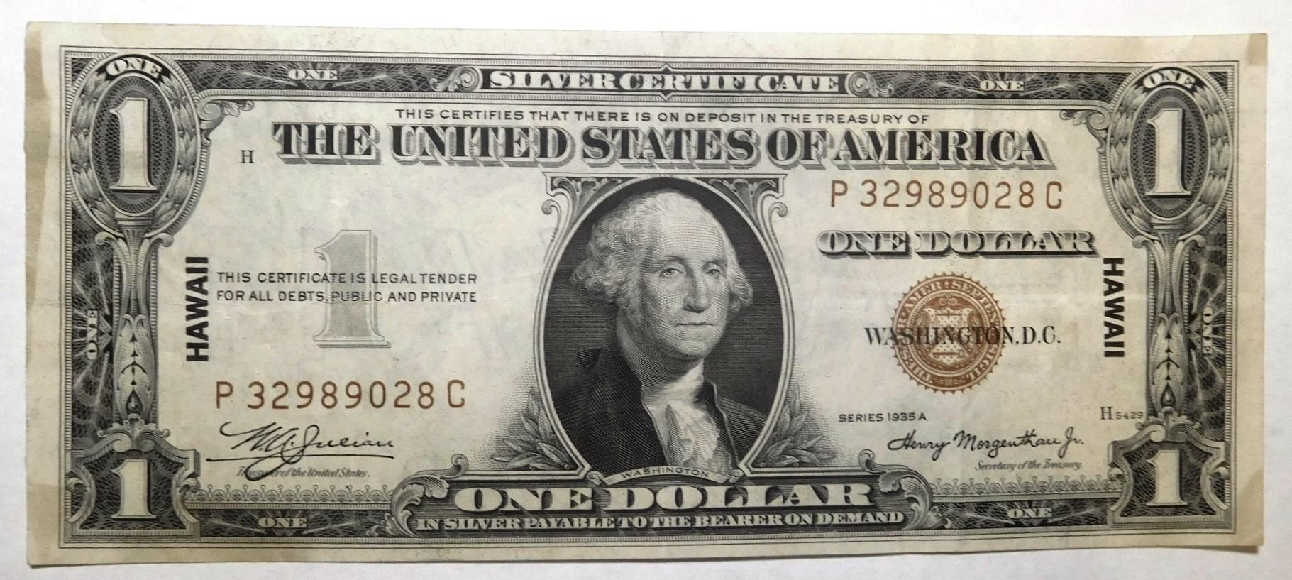 1935-A $1.00 HAWAII SILVER CERTIFICATE AU++/UNC