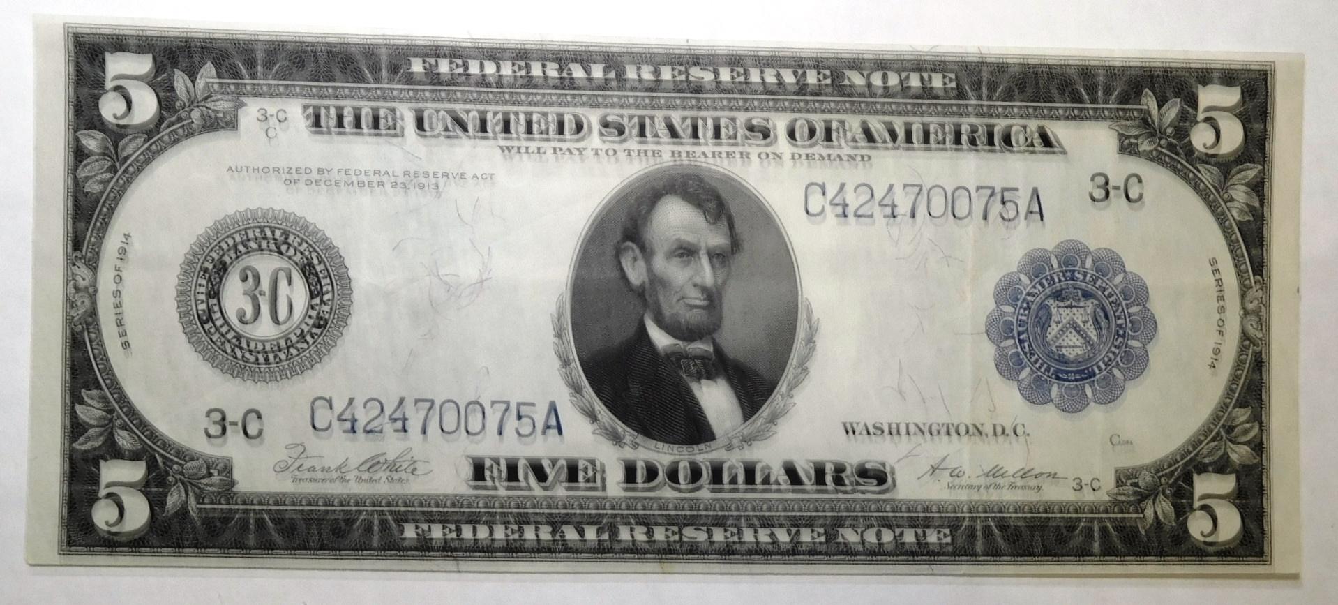 1914 $5.00 FEDERAL BLUE SEAL NOTE GEM CRISP UNC