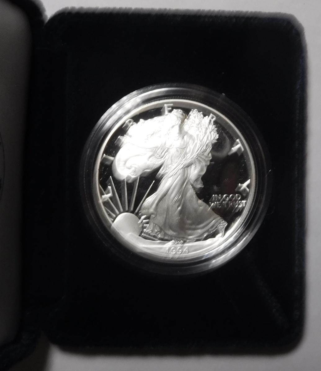 1994 AMERICAN SILVER EAGLE PROOF IN BOX W/COA