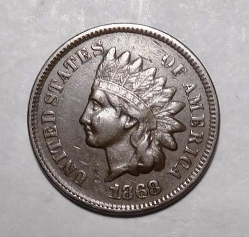 1868 INDIAN HEAD CENT AU-55