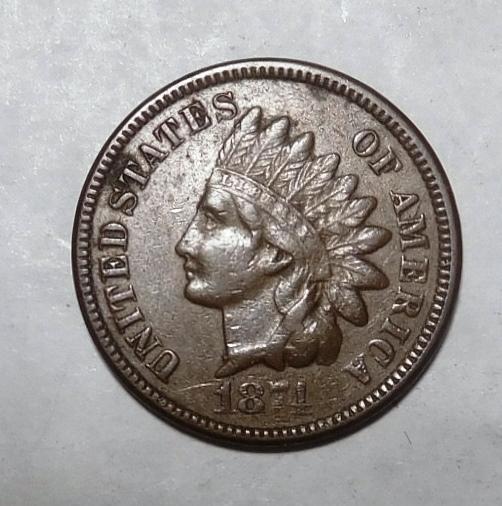 1874 INDIAN HEAD CENT AU-55